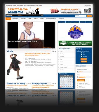 Redizajn internetová prezentácia BasketAcademyNr.sk